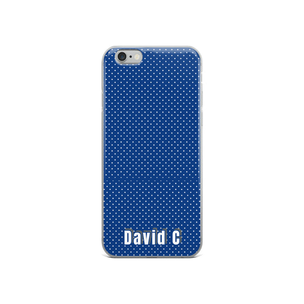 Blue Polka Dots Print Custom Names iPhone Case-Made in USA-Phone Case-iPhone 6/6s-Heidi Kimura Art LLC
