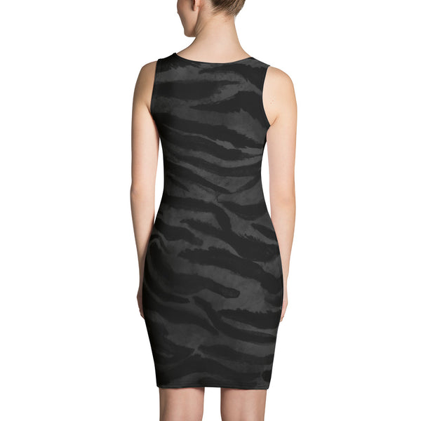 Cute Little Black Gray Tiger Stripe Animal Print Women's Long Sleevless Floral Dress- Made in USA-Women's Sleeveless Dress-Heidi Kimura Art LLC
