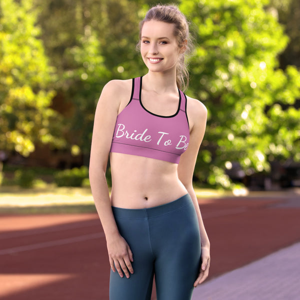 Light Pink Bride To Be Text Women's Premium Workout Sports Bra- Made in USA/ EU-Sports Bras-White-XS-Heidi Kimura Art LLC