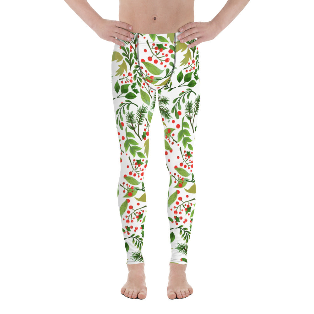Christmas Meggings, Green Red Floral Print Running Leggings Tights For Men-Made in USA/EU-Men's Leggings-XS-Heidi Kimura Art LLC