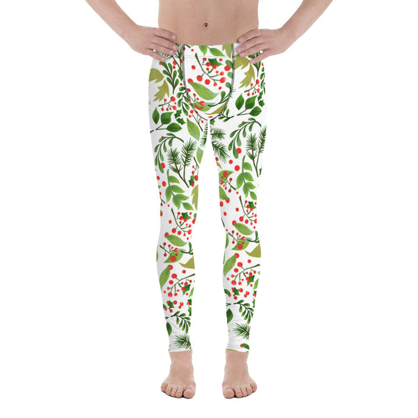 a53d535a6fcce Kami Green Red Floral Christmas Men's Running Leggings Tights Meggings  Activewear-Made in USA(