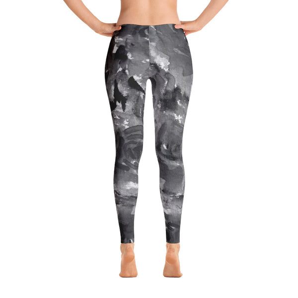 Gray Rose Floral Print Women's Long Casual Leggings/ Running Tights - Made in USA-Casual Leggings-XS-Heidi Kimura Art LLC
