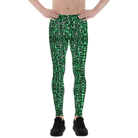 Green Leopard Meggings, Animal Print Men's Leggings Compression Tights-Made in USA/EU-Heidi Kimura Art LLC-XS-Heidi Kimura Art LLC Green Leopard Meggings, Animal Print Men's Leggings, Premium Classic Elastic Comfy Men's Leggings Fitted Tights Pants - Made in USA/EU (US Size: XS-3XL) Spandex Meggings Men's Workout Gym Tights Leggings, Compression Tights, Kinky Fetish Men Pants