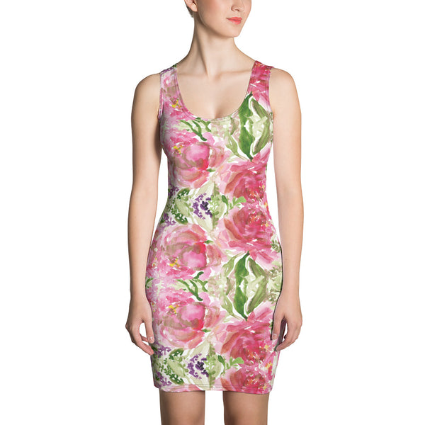 Pink Roses Classic Women's Dress, 1-piece Designer Dress-Made in USA/EU-Heidi Kimura Art LLC-XS-Heidi Kimura Art LLC Pink Roses Classic Women's Dress, Rose Flower Floral Print Women's Long Sleeveless Designer Premium Dress - Made in USA/EU (US Size: XS-XL)
