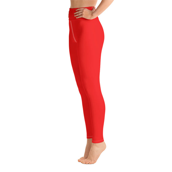 Women's Bright Red Solid Color Active Wear Fitted Leggings Pants - Made in USA-Leggings-Heidi Kimura Art LLC Bright Red Women's Leggings, Women's Gray Stripe Active Wear Fitted Leggings Sports Long Yoga & Barre Pants - Made in USA/EU (XS-XL)