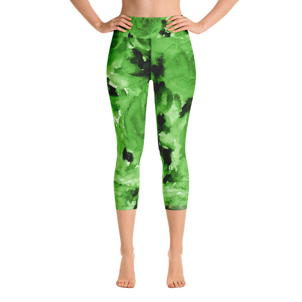 Green Floral Capri Leggings, Apple Green Rose Floral Print Capri Leggings Women's Yoga Pants - Made in USA/EU (US Size: XS-XL) Green Rose Floral Print Capri Leggings Women's Capris Yoga Pants Tights- Made in USA/EU-Capri Yoga Pants-XS-Heidi Kimura Art LLC