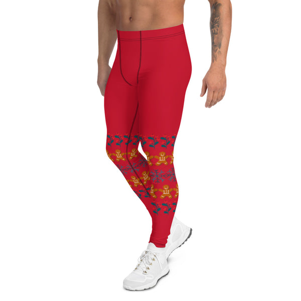 Gingerbread Christmas Holiday Men's Leggings, Festive Xmas Rave Party Sexy Meggings Men's Workout Gym Tights Leggings, Men's Compression Tights Pants - Made in USA/ EU/ MX (US Size: XS-3XL) Costume Party Meggings