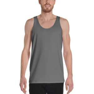 Dark Gray Solid Color Print Premium Unisex Gay Friendly Tank Top - Made in USA-Men's Tank Top-XS-Heidi Kimura Art LLC Gray Unisex Tank Top, Dark Gray Solid Color Print Stylish Premium Quality Gay Friendly Men's or Women's Unisex Tank Top - Made in USA/ Europe (US Size: XS-2XL)