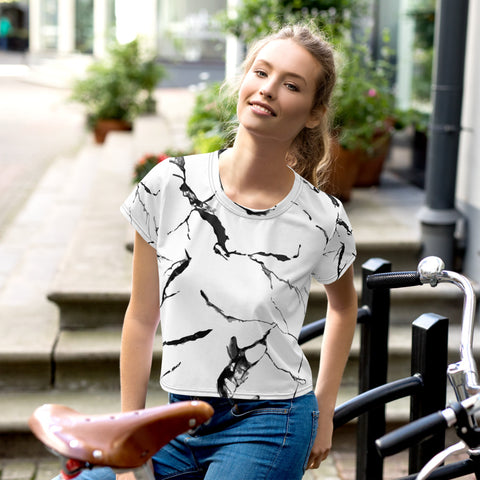 White Marble Print Crop Tee, Marble Women's Crop T-Shirt-Made in USA/EU-Heidi Kimura Art LLC-XS-Heidi Kimura Art LLCWhite Marble Crop Tee, Grey Marble Print Cropped Short T-Shirt Outfit, Crop Tee Top Women's T-Shirt, Made in Europe, (US Size: XS-3XL) Plus Size Available