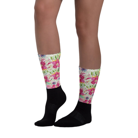 Pink Rose Floral Designer Black Foot Sublimated Socks - Made in USA/ Europe-Socks-Heidi Kimura Art LLC