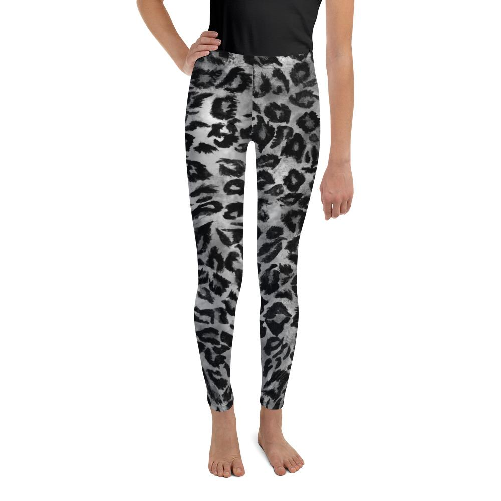 Gray Leopard Animal Print Premium Youth Leggings Tights Active Wear- Made in USA/EU-Youth's Leggings-8-Heidi Kimura Art LLC