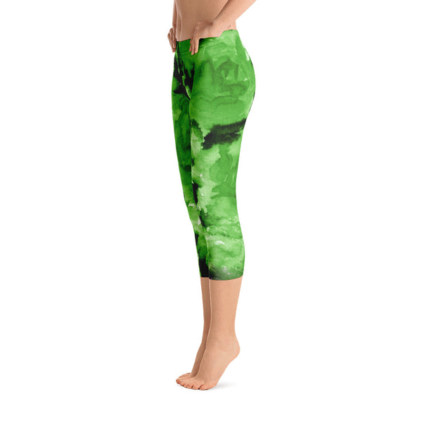 Green Rose Floral Designer Capri Leggings Spandex Tights- Made in USA (US Size: XS-XL)-capri leggings-Heidi Kimura Art LLC