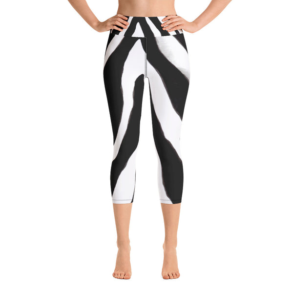 bd0d7dd467e16 Aiko Black + White Zebra Stripe Print Designer Women's Yoga Capri Leggings  Pants - Made in