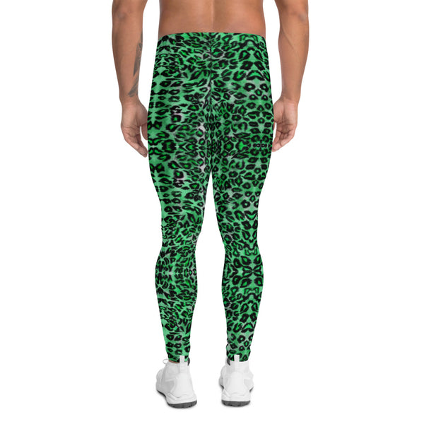 Green Leopard Print Men's Leggings, Animal Print Compression Tights-Made in USA/EU-Heidikimurart Limited -Heidi Kimura Art LLC Green Leopard Print Men's Leggings, Green Colorful Animal Print Leopard Modern Meggings, Men's Leggings Tights Pants - Made in USA/EU/MX (US Size: XS-3XL) Sexy Meggings Men's Workout Gym Tights Leggings