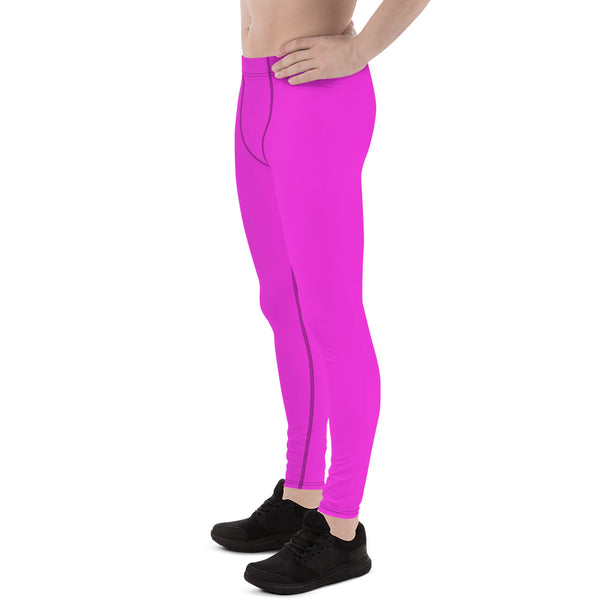 Neon Pink Meggings, Bright Cute Men's Running Leggings Run Tights - Made in USA/EU-Men's Leggings-Heidi Kimura Art LLC