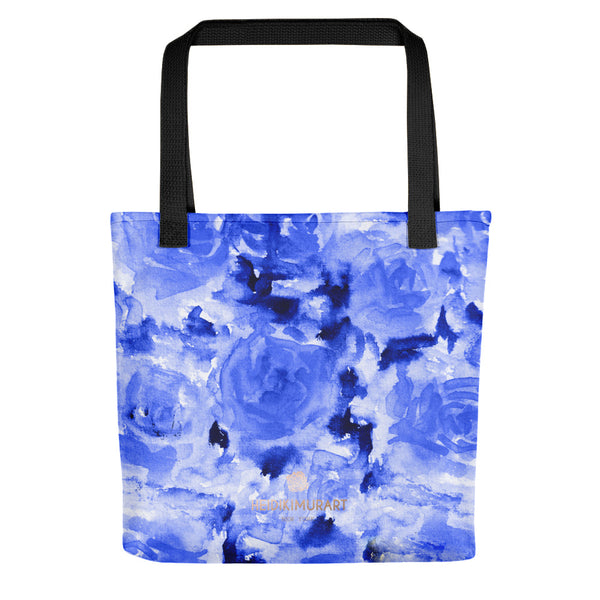 Eito Cool Blue Sea Rose Floral Designer AOP Tote Bag - Made in USA