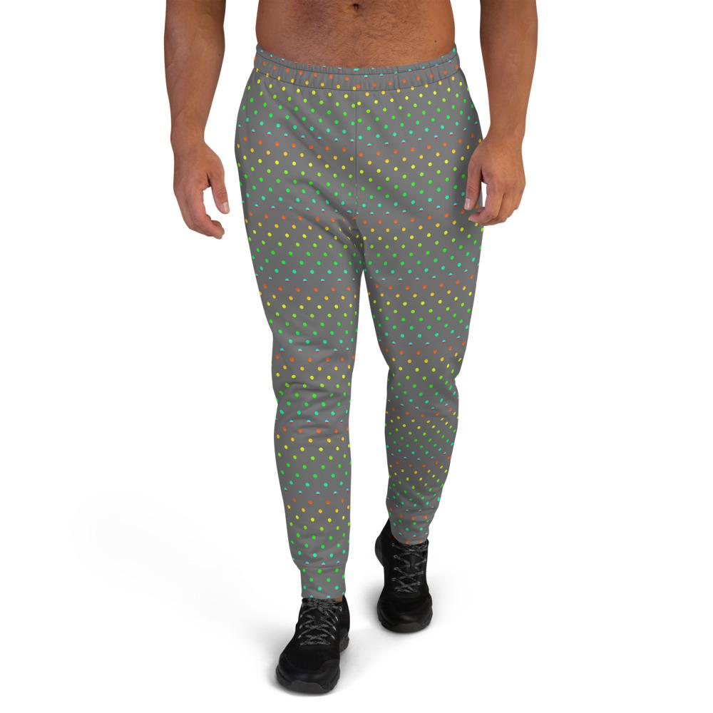 Gray Polka Dots Rainbow Print Designer Men's Joggers-Made in EU (US Size: XS-3XL)-Men's Joggers-XS-Heidi Kimura Art LLC