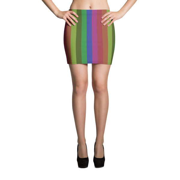 Miki Vintage Style Rainbow Stripe Women's Festival Mini Skirt -Made in USA (US Size: XS-XL)
