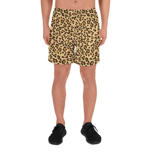 Brown Leopard Animal Print Men's Athletic Best Workout Long Shorts- Made in EU-Men's Long Shorts-XS-Heidi Kimura Art LLC