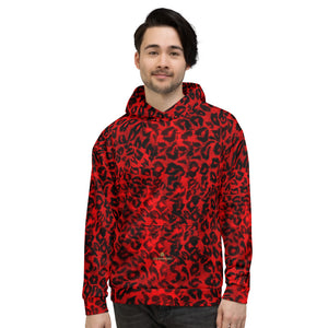 Red Leopard Animal Print Premium Men's or Women's Unisex Hoodie-Made in Europe-Men's Hoodie-XS-Heidi Kimura Art LLC Red Leopard Men's Hoodies, Red Leopard Animal Print Premium Quality Bestselling Men's or Women's Unisex Hoodie- Made in Europe (US Size: XS-3XL), Women's or Men's Red Leopard Animal Print Printed Hoodie Pullover Sweatshirt, Plus Size Available