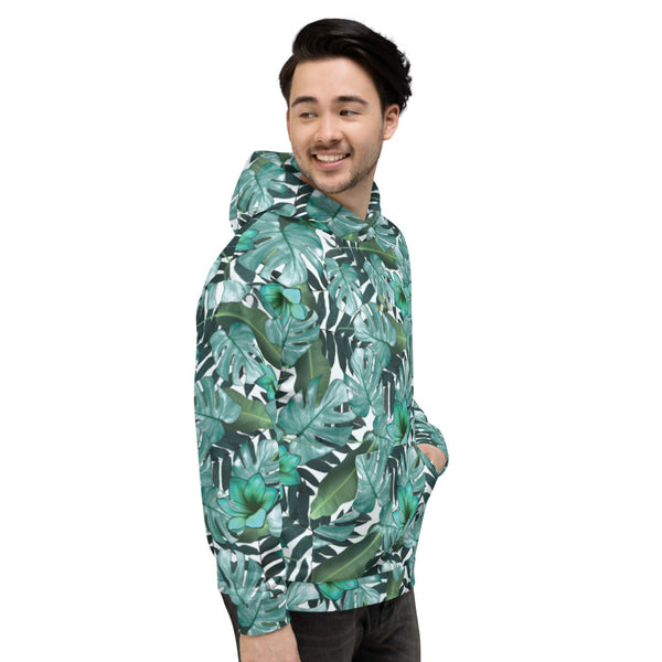 Green Tropical Leaf Print Men's Unisex Hoodie Sweatshirt Pullover Top- Made in EU-Men's Hoodie-Heidi Kimura Art LLC
