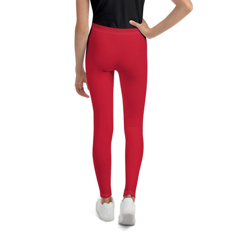 Bright Christmas Red Solid Color Youth Gym Compression Tight Leggings-Made in USA/EU-Youth's Leggings-Heidi Kimura Art LLC