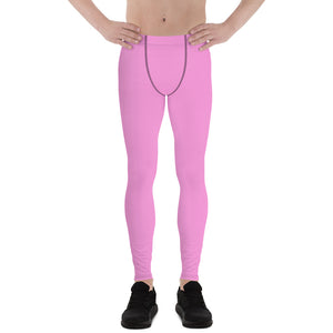 Soft Light Pink Ballet Men's Running Leggings & Run Tights Meggings- Made in USA/EU-Men's Leggings-XS-Heidi Kimura Art LLC