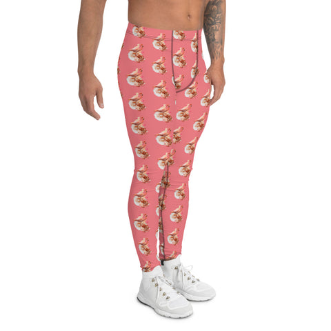 Peach Flamingo Men's Leggings, Cute Pink Meggings Compression Tights-Heidi Kimura Art LLC-Heidi Kimura Art LLC Peach Pink Flamingo Men's Leggings, Cute Bird Print Sexy Meggings Men's Workout Gym Tights Leggings, Men's Compression Tights Pants - Made in USA/ EU (US Size: XS-3XL)