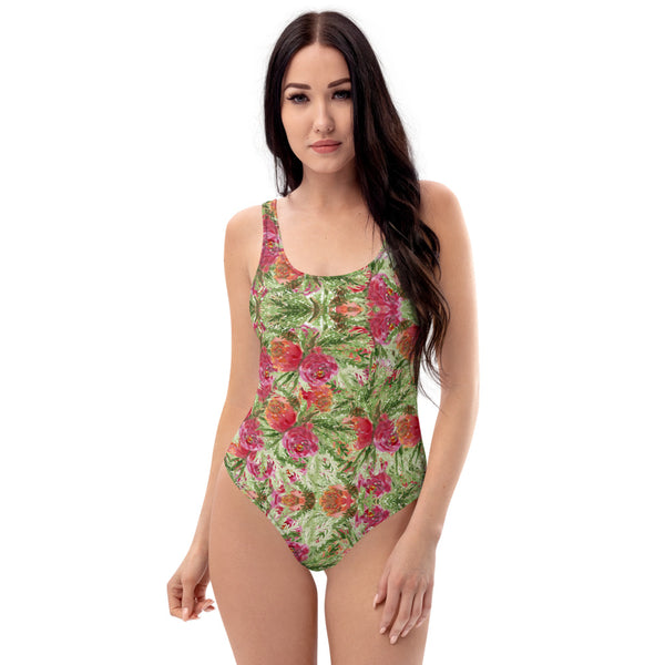 Red Roses One-Piece Swimsuit, Garden Rose Floral Print Women's Swimwear-Made in USA/EU-Heidi Kimura Art LLC-XS-Heidi Kimura Art LLC