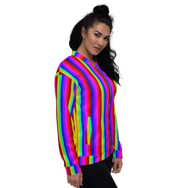 Rainbow Vertical Striped Bomber Jacket, Unisex Jacket For Men or Women-Heidi Kimura Art LLC-Heidi Kimura Art LLC