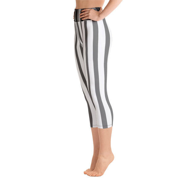 White Gray Vertical Striped Women's Yoga Capri Pants Leggings-Capri Yoga Pants-Heidi Kimura Art LLC