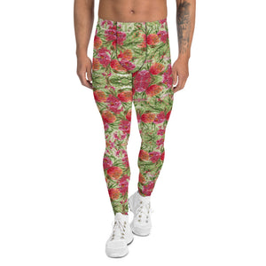 Red Rose Floral Men's Leggings-Heidikimurart Limited -XS-Heidi Kimura Art LLC Red Rose Floral Men's Leggings, Colorful Flower Print Stylish Colorful Sexy Meggings Men's Workout Gym Tights Leggings, Men's Compression Tights Pants - Made in USA/ EU/ MX (US Size: XS-3XL)