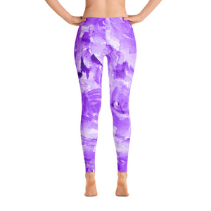 Purple Rose Floral Print Women's Long Casual Leggings/ Running Tights - Made in USA (US Size: XS-XL)-Casual Leggings-XS-Heidi Kimura Art LLC