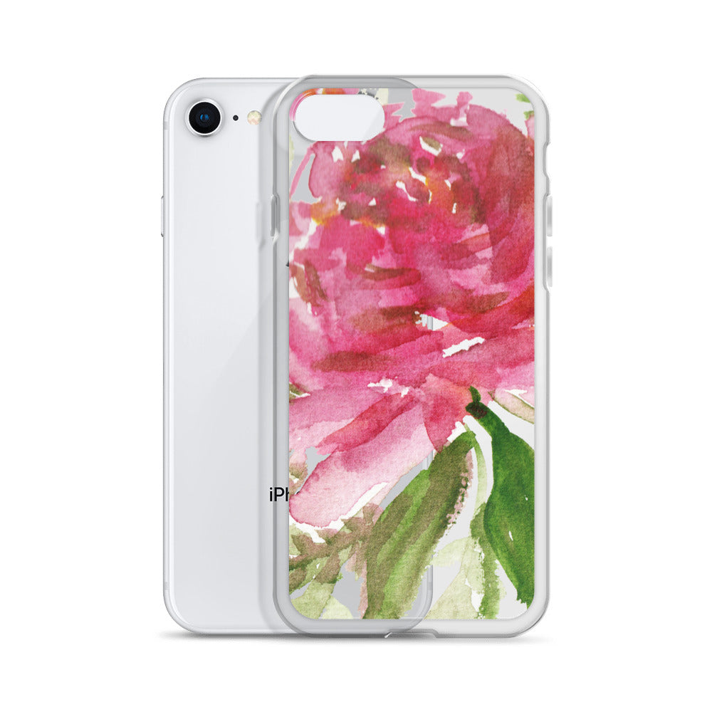 Happiness Clear Floral Girlie Pink, iPhone X | XS | XR | XS Max | 8 | 8+ | 7| 7+ |6/6S | 6+/6S+ Case- Made in USA - Heidi Kimura Art LLC