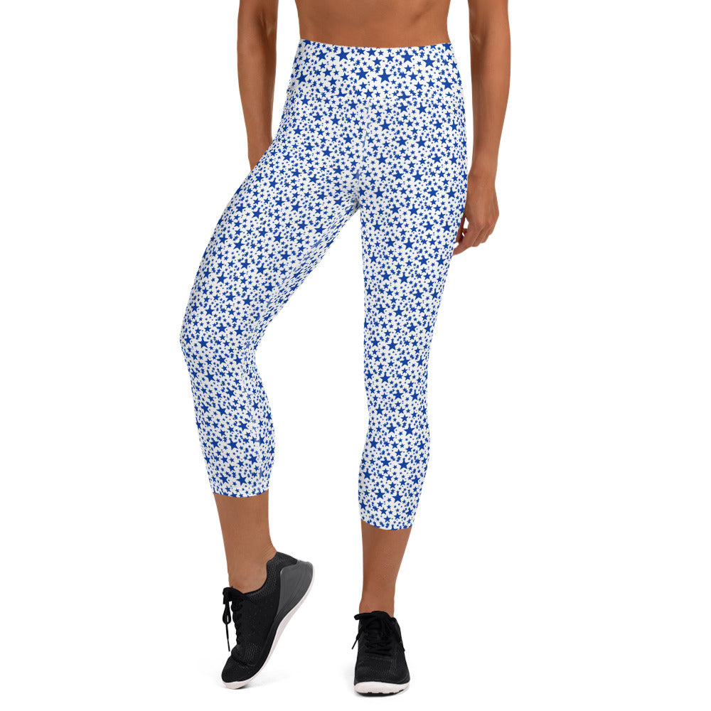 White Blue Stars Print Women's Yoga Capri Mid-Calf Leggings Pants- Made in USA/EU-Capri Yoga Pants-XS-Heidi Kimura Art LLC
