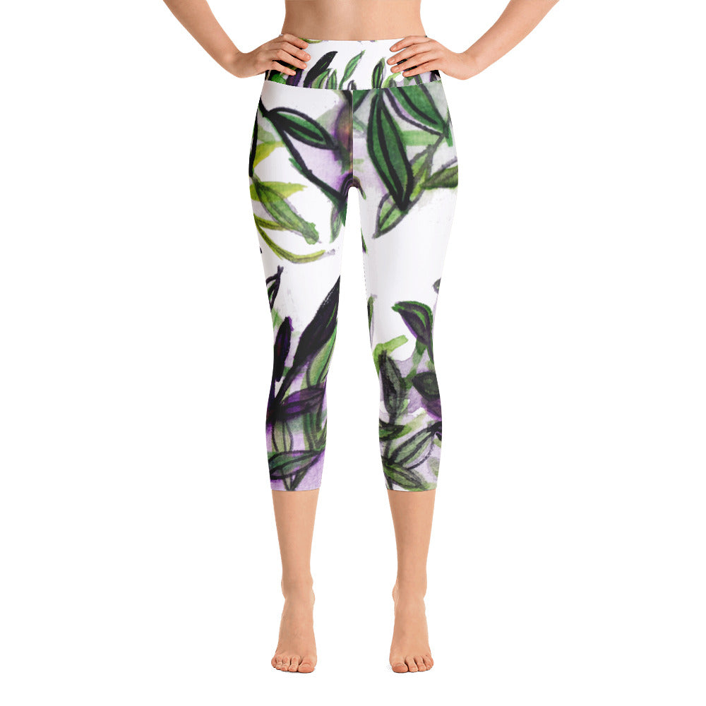 Tropical Leaves Print Yoga Pants Capri Designer Leggings Athletic Outfit - Made in USA-Capri Yoga Pants-XS-Heidi Kimura Art LLC