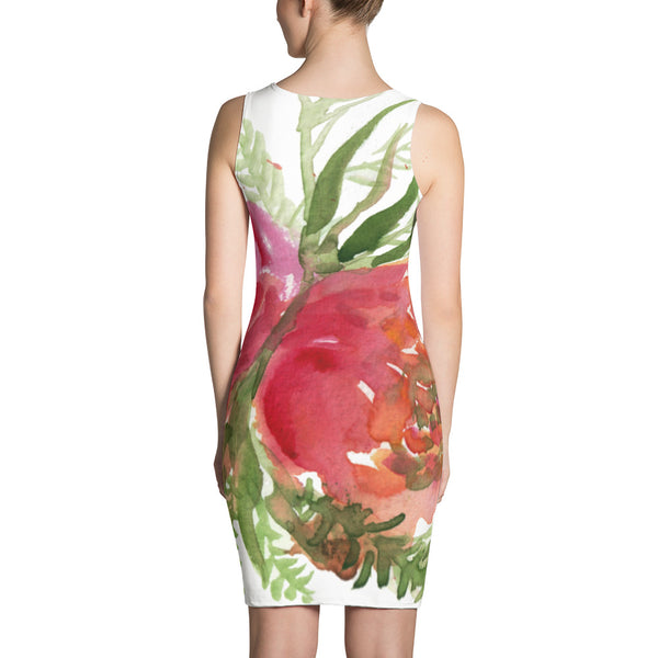 White Green Red Spring Rose Floral Print Long Sleeveless Women's Dress-Made in USA/EU-Women's Sleeveless Dress-Heidi Kimura Art LLC
