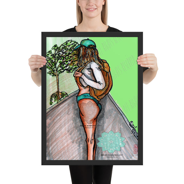 Fitness Girl Hiking in the Woods Fitness Art Framed Poster, Made in USA - Heidi Kimura Art LLC