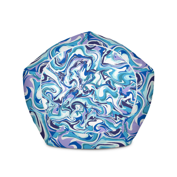 Blue Purple White Luxury Designer Watercolor Abstract Print Bean Sofa Bag-Bean Bag-Heidi Kimura Art LLC