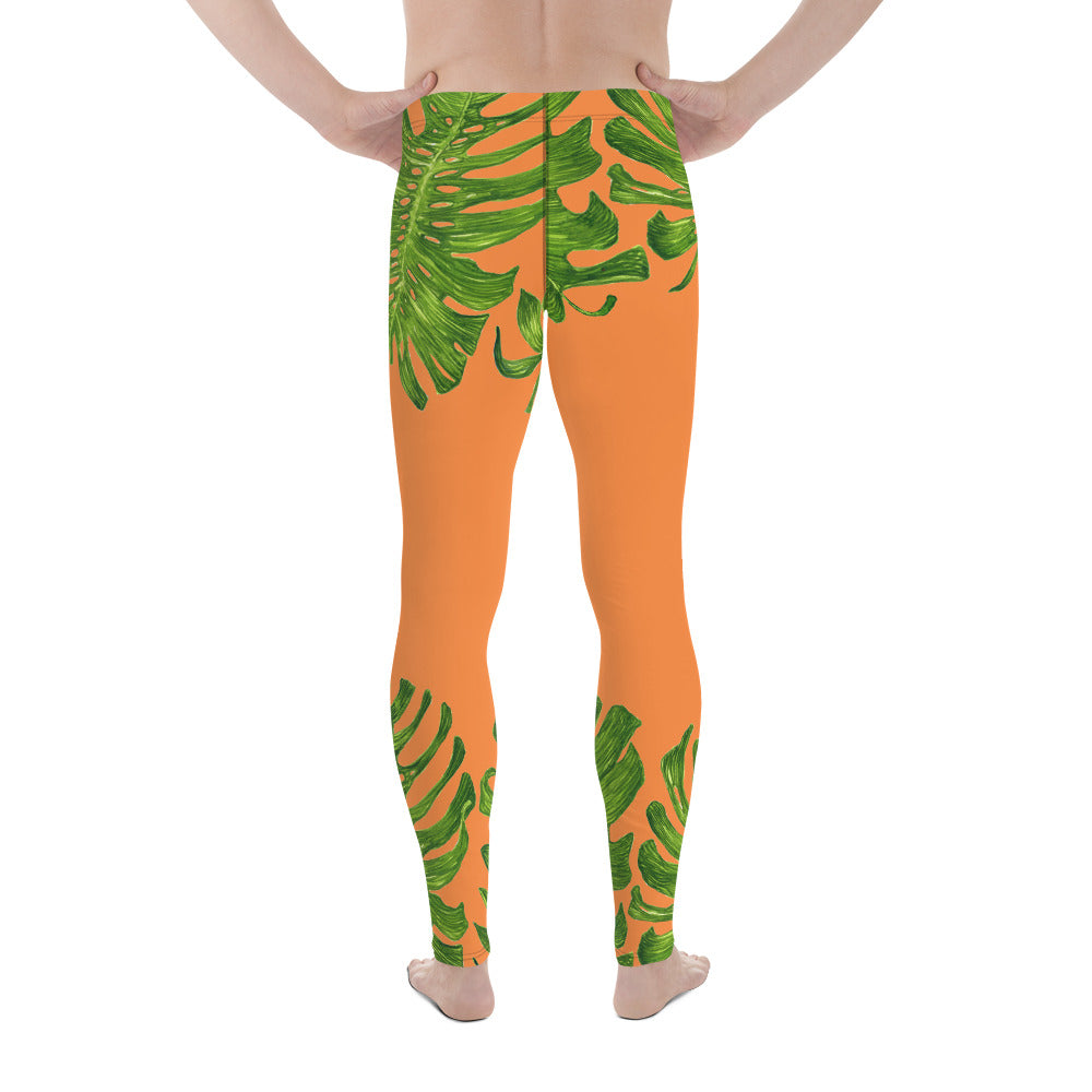 Orange Green Tropical Leaf Print Men's Leggings-Made in USA(US Size: XS-3XL) - Heidi Kimura Art LLC