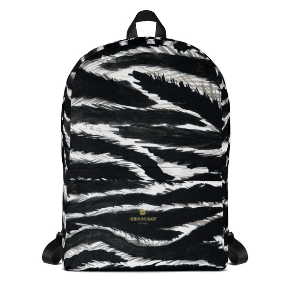 Chic Zebra Animal Print Laptop Computer Tablet Travel Bag Backpack Bag- Made in USA/EU-Backpack-Heidi Kimura Art LLC