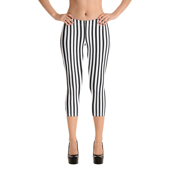Black Striped Capri Leggings, Black White Vertical Striped Print Cute Designer Capri Designer Spandex Casual Fashion Leggings - Made in USA/EU (US Size: XS-XL) Striped Capri Leggings, Women's Capris Pants, Womens Active Crops & Capris - Bottoms, Capri Leggings, Women's Workout Leggings & Pants, capri pants for ladies, dressy capri leggings, best capri pants, capri pants womens, activewear capri leggings, capris long shorts