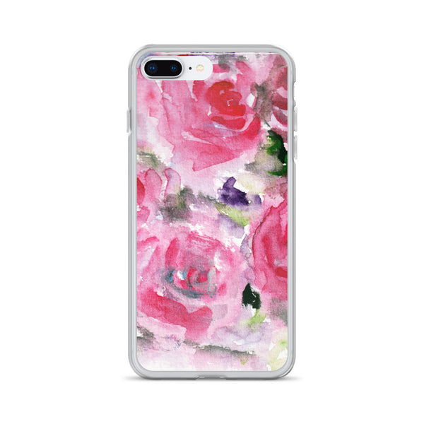Hot Pink French Rose Floral Print iPhone X | XS | XR | XS Max | 8 | 8+ | 7| 7+ |6/6S | 6+/6S+ Case- Made in USA-Phone Cases-iPhone 7 Plus/8 Plus-Heidi Kimura Art LLC