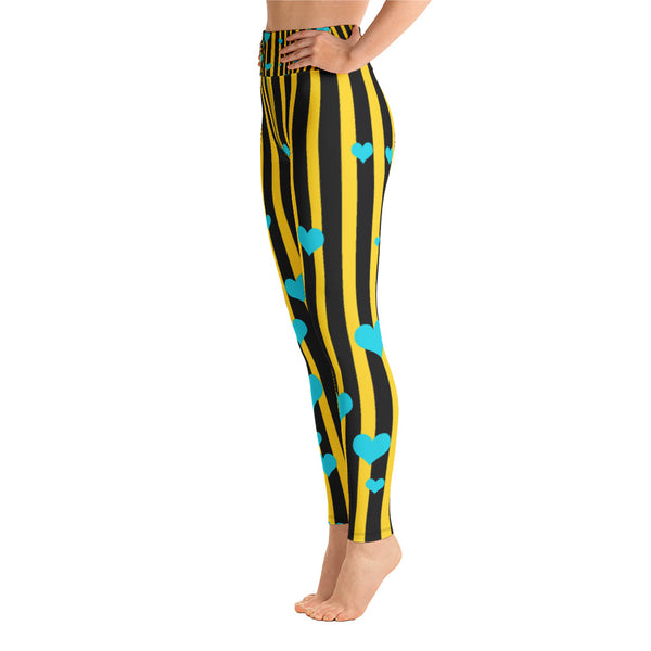Women's Yellow & Black Striped Blue Hearts Active Wear Fitted Leggings-Leggings-2XL-Heidi Kimura Art LLC Yellow Black Striped Leggings, Women's Yellow & Black Striped Blue Hearts Retro Style Active Wear Fitted Leggings Sports Long Yoga & Barre Pants - Made in USA/EU (US Size: XS-6XL)