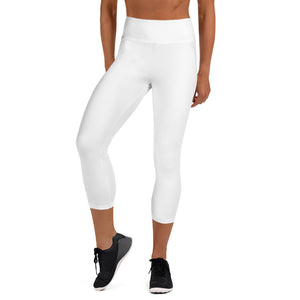 Solid White Premium Bridesmaid Designer Yoga Capri Leggings-Made in USA-Capri Yoga Pants-XS-Heidi Kimura Art LLC