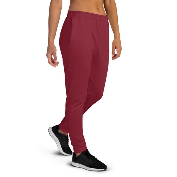 Burgundy Red Solid Color Premium Women's Joggers Slim Fit Sweatpants - Made in EU-Women's Joggers-Heidi Kimura Art LLC