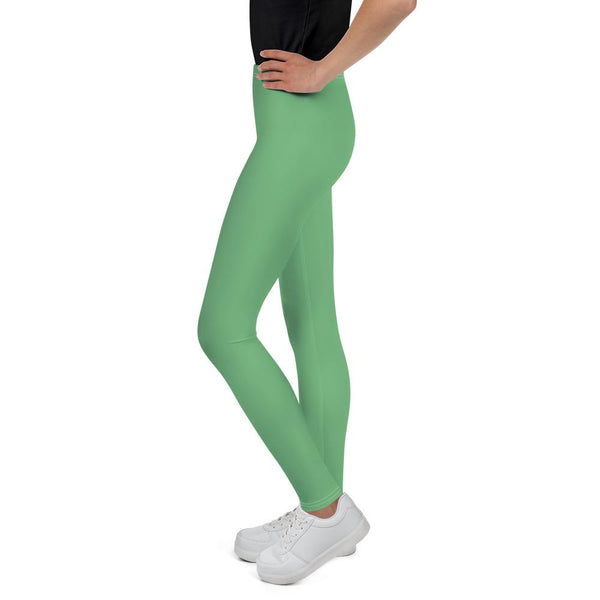 Pastel Green Solid Color Premium Youth Leggings Compression Tights - Made in USA/EU-Youth's Leggings-Heidi Kimura Art LLC