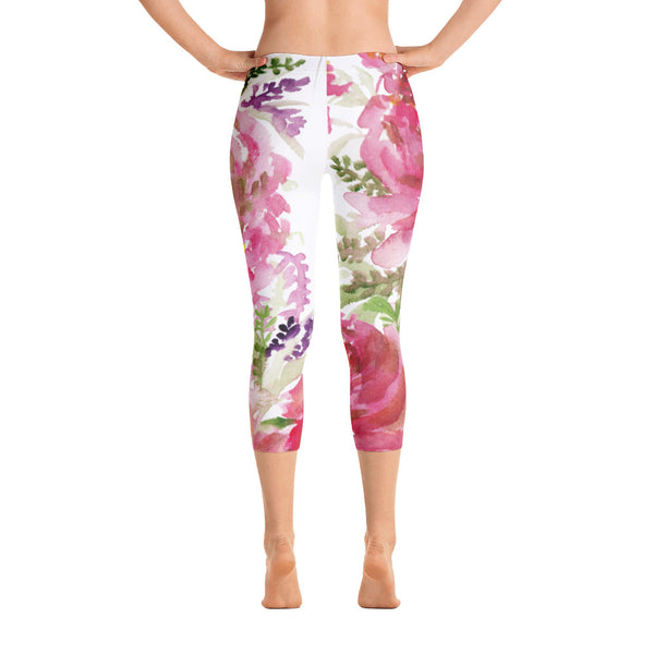 Rosewood Pink Rose Floral Capri Leggings Casual Comfy Outfits - Made in USA-capri leggings-XS-Heidi Kimura Art LLC