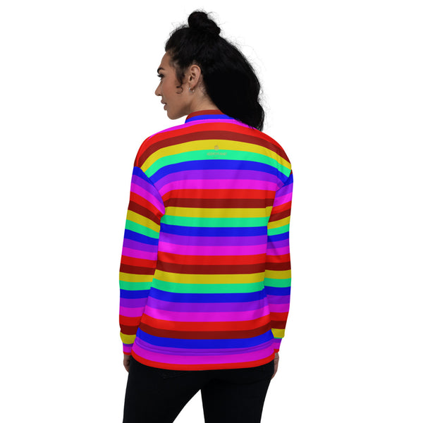 Rainbow Stripe Bomber Jacket, Gay Pride LGBTQ Friendly Jacket For Men or Women-Heidi Kimura Art LLC-Heidi Kimura Art LLC Rainbow Horizontal Striped Bomber Jacket, Gay Friendly LGBTQ Friendly Jacket, Best Premium Quality Modern Unisex Jacket For Men/Women With Pockets-Made in EU