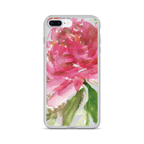 Happiness Clear Floral Girlie Pink, iPhone X | XS | XR | XS Max | 8 | 8+ | 7| 7+ |6/6S | 6+/6S+ Case- Made in USA-Phone Case-iPhone 7 Plus/8 Plus-Heidi Kimura Art LLC